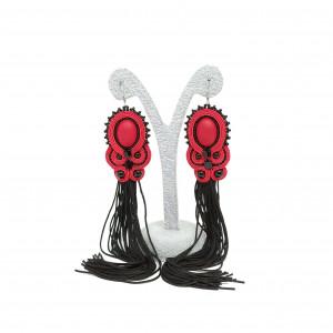 Kolczyki sutasz czerwono-czarne z chwostem
