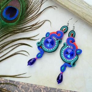 kolczyki sutasz kolorowe kryształki folk swarovski