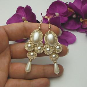 Kolczyki sutasz soutache ślubne boho ecru perłowe
