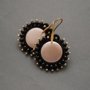 kolczyki sutasz  z perełkami seashell