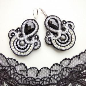 Kolczyki sutaszowe Black&Silver