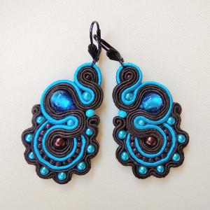 Kolczyki sutaszowe Neon Blue
