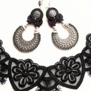 Kolczyki sutaszowe Orient - Black