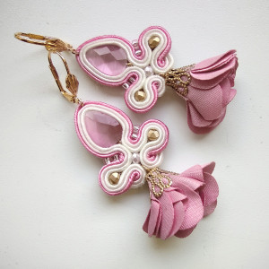 Kolczyki sutaszowe Pink Flowers