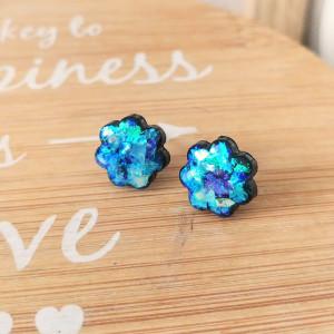 Kolczyki sztyfty Blue Ice Kwiatki