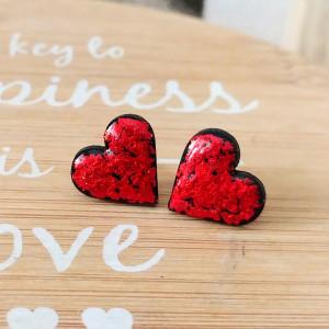 Kolczyki sztyfty Serduszka Czerwone Love