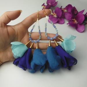 Kolczyki tiul kwiaty morskie błękitne niebieskie