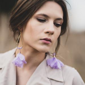 Kolczyki tiulowe XXL kwiatowe lawenda fioletowe