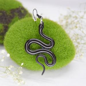 Kolczyki Węże - gładkie czerń 03