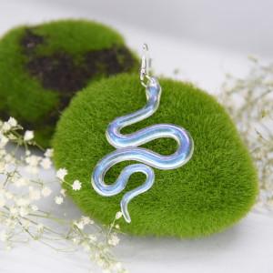 Kolczyki Węże - gładkie opal 03