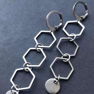 Kolczyki wiszące ze stali w kolorze srebrnym