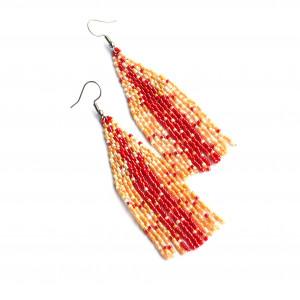 Kolczyki z koralików -  czerwone Miyuki