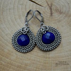 Kolczyki z lapis lazuli, wire wrapping, stal