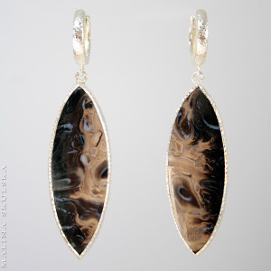 Kolczyki z markizami drewna skamieniałego