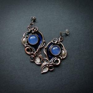 Kolczyki z Niebieskimi Kamyczkami