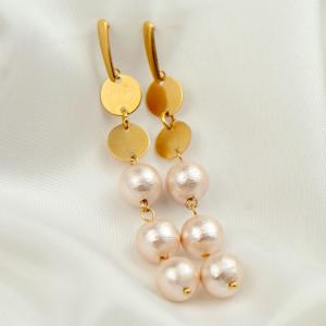 Kolczyki z perłowymi kulami pozłacane c916