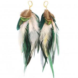 Kolczyki z piórami Emerald etniczne boho