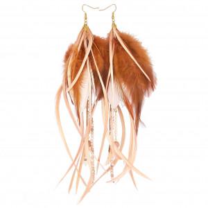 Kolczyki z piórami różowo-brązowe etniczne boho