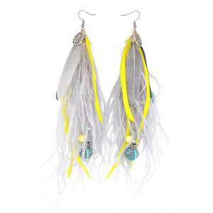 Kolczyki z piórami szaro-żółte etniczne boho