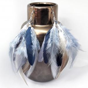 Kolczyki z piórami,angelitem,hematytem,szafirem 2