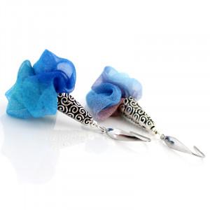 Kolczyki z Tkaniny Kwiaty Silk Niebieskie