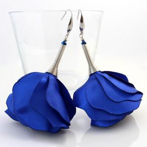 Kolczyki z Tkaniny Kwiaty Silk Szafirowe