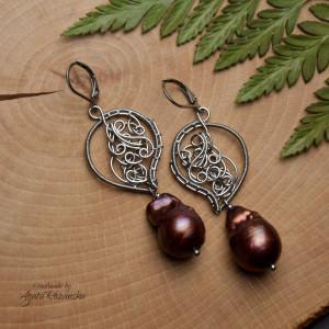 Kolczyki  ze stali chirurgicznej perły barokowe