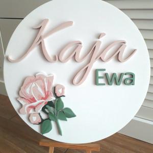 Koło z imieniem 3D pudrowy róż