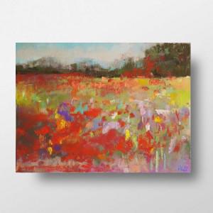 Kolorowa łąka-praca wykonana pastelami A4