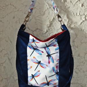 Kolorowa torba na ramię worek xl welurowa w ważki