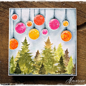 Kolorowe bombki - kartka świąteczna