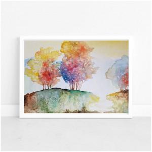 Kolorowe drzewa -akwarela formatu 32/24 cm