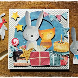 Kolorowe urodzinki - kartka dziecięca