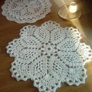Komplet 2 białych dywanów