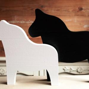 Komplet 2 drewnianych koników DALA - Black White -