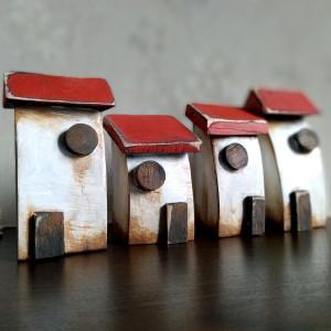 Komplet 4 domków dekoracyjnych