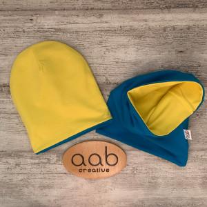 Komplet 44-52 cm dwustronny turkusowo-żółty