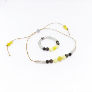 Komplet biżuterii bransoletka i pierścionek yellow