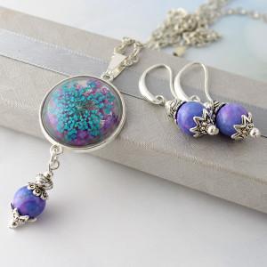 Komplet Biżuterii Marble - Medalion   Kolczyki