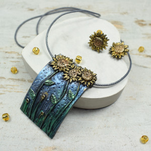 "Komplet biżuterii ""słoneczniki"""