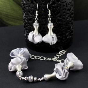 Komplet Biżuterii Srebrny - Kolczyki i Bransoletka