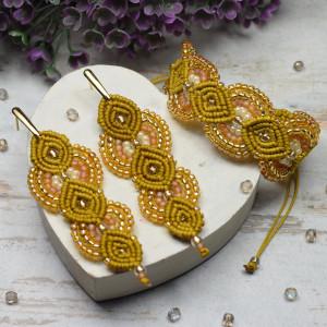 Komplet biżuterii w miodowo-złotych odcieniach