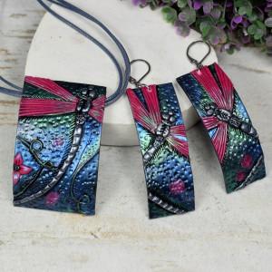 Komplet biżuterii - ważki, kolczyki + naszyjnik