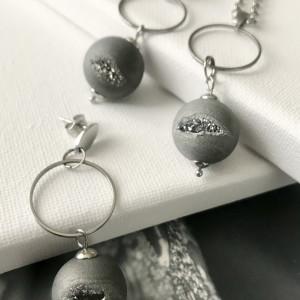 Komplet biżuterii z Agatu z druzami