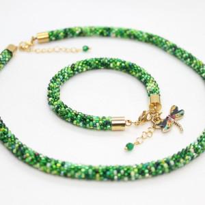 Komplet biżuterii z drobniutkich koralików