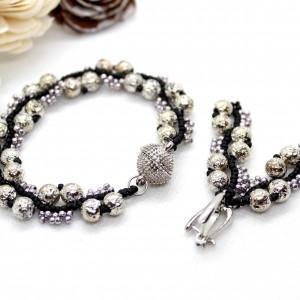 komplet biżuterii z kamieni naturalnych - lawa