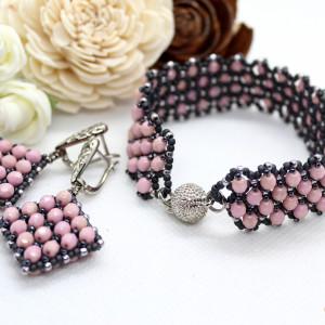 komplet biżuterii z kryształków - typu caprice