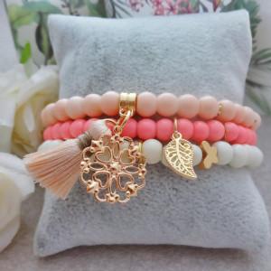 Komplet Bransoletek Milky Flamingo