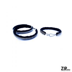 Komplet czarnej biżuterii bransoletka i kolczyki