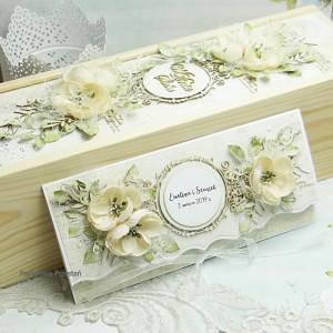Komplet na ślub- kartka i pudełko na wino 2